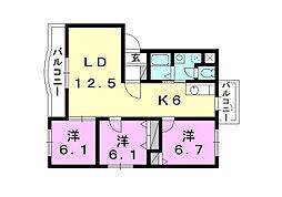 ボヌールレジデンスB棟[201 号室号室]の間取り