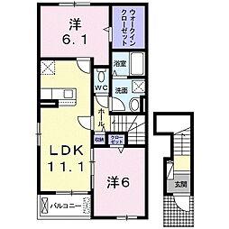 JR久大本線 筑後吉井駅 徒歩22分の賃貸アパート 2階2LDKの間取り