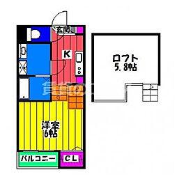 ハーモニーテラス博多南 2階1Kの間取り