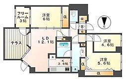 麻生中央シティーハウス[105号室]の間取り