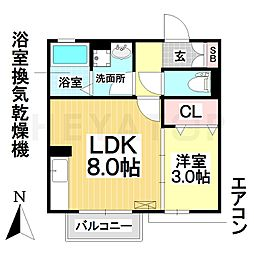 愛知県名古屋市南区忠次1丁目の賃貸アパートの間取り