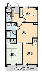 東京都小平市花小金井8丁目の賃貸マンションの間取り