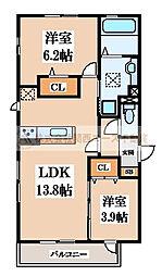 ラディアコート[1階]の間取り