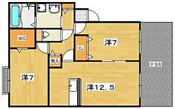 エストコリーヌ3番館[1階]の間取り