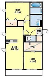 名鉄三河線 土橋駅 徒歩34分の賃貸アパート 3階2LDKの間取り