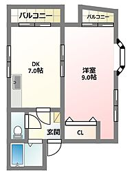 大阪府四條畷市中野2丁目の賃貸マンションの間取り