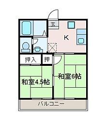 ハイネス弥栄[2階]の間取り