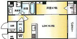 Osaka Metro千日前線 北巽駅 徒歩15分の賃貸マンション 7階1LDKの間取り