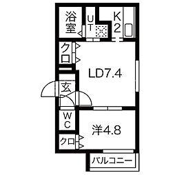 TerraceTsumugi(テラスツムギ) 1階1LDKの間取り