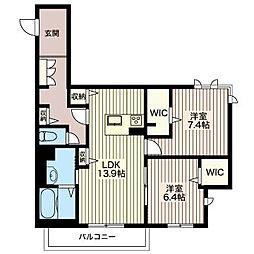 ウィスマ.TSURUTA[2階]の間取り