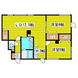 北海道札幌市東区北二十条東3丁目の賃貸アパートの間取り