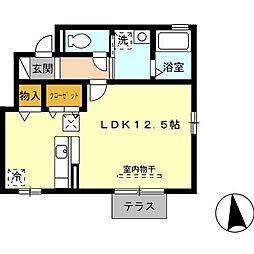 D−Room M's 1階ワンルームの間取り
