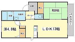 メゾンファミーユ A・B棟[B202号室]の間取り