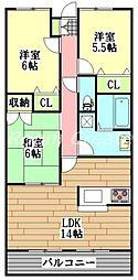 徳島県徳島市川内町沖島の賃貸マンションの間取り