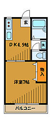 東京都国分寺市東元町2丁目の賃貸アパートの間取り