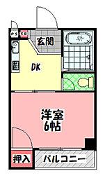 太子橋グリーンハイツ 2階1DKの間取り