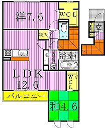 京[V 201号室]の間取り