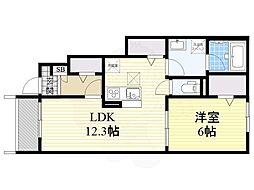 Osaka Metro長堀鶴見緑地線 鶴見緑地駅 徒歩16分の賃貸アパート 1階1LDKの間取り