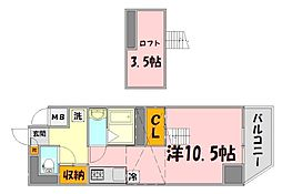 広島県広島市中区小町の賃貸マンションの間取り