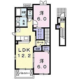 千葉県柏市鷲野谷の賃貸アパートの間取り