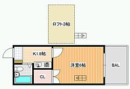 サニーコート松原[2階]の間取り
