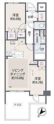 JR山手線 目黒駅 徒歩6分の賃貸マンション 1階2LDKの間取り