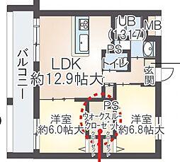サン・ピース阿倍野[3階]の間取り