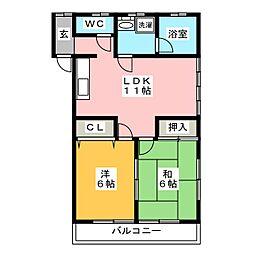 サクラパレス2号棟[2階]の間取り