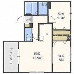 北海道札幌市中央区南六条西13丁目の賃貸マンションの間取り