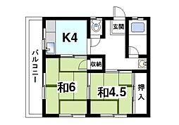 富士マンション[1階]の間取り