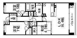 プラウドシティ新大阪 8階3LDKの間取り