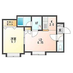カリーノ東札幌[2階]の間取り