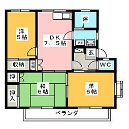 メゾニティーB[1階]の間取り