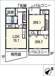 [タウンハウス] 愛知県清須市春日神明 の賃貸【/】の間取り