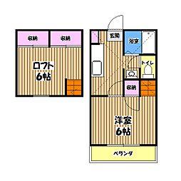 東京都小平市小川町1丁目の賃貸アパートの間取り