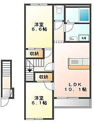 滋賀県愛知郡愛荘町長野の賃貸アパートの間取り