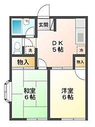 第2京田ハイツ[1階]の間取り