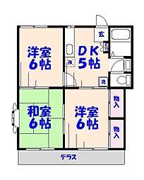 清水ハイツパートII[1階]の間取り