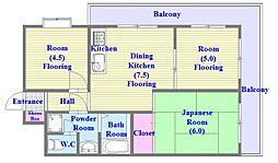 ヒルサイドテラス垂水[2階]の間取り