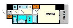 グランカリテ大阪城EAST 13階1Kの間取り