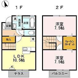 富山県富山市東富山寿町1丁目の賃貸アパートの間取り