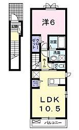 JR山陽本線 北長瀬駅 徒歩23分の賃貸アパート 2階1LDKの間取り