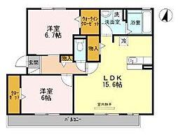 愛知県名古屋市南区赤坪町の賃貸アパートの間取り