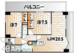 レイブリック若園[4階]の間取り