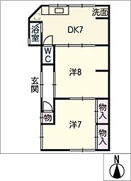 第二松浦荘[1階]の間取り