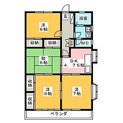 サンフルハウス増渕 A[2階]の間取り