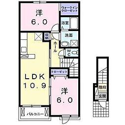 西鉄天神大牟田線 西鉄柳川駅 徒歩18分の賃貸アパート 2階2LDKの間取り