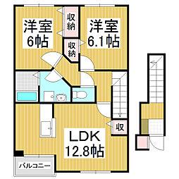 長野県大町市常盤の賃貸アパートの間取り