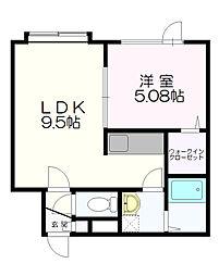 札幌市営東西線 南郷18丁目駅 バス7分 北野3条3丁目下車 徒歩5分の賃貸アパート 2階1LDKの間取り