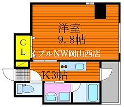 仮称 三門東町マンション 4階1Kの間取り